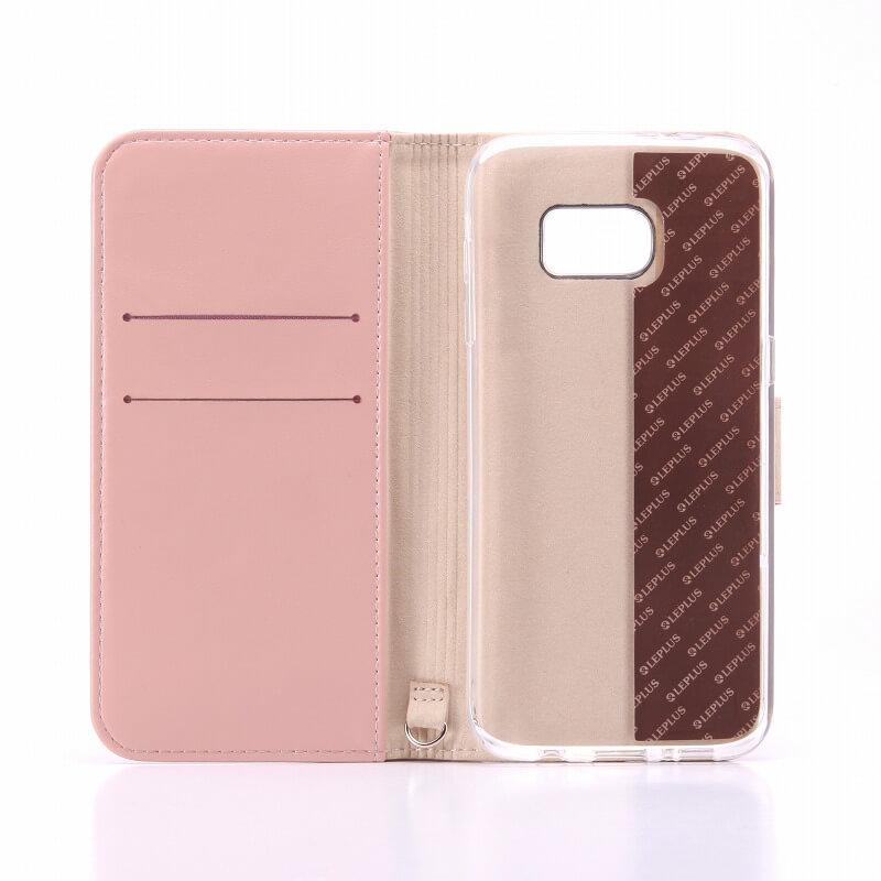 Galaxy S7 edge SC-02H/SCV33 ブックタイプPUレザーケース「BOOK」 ピンク