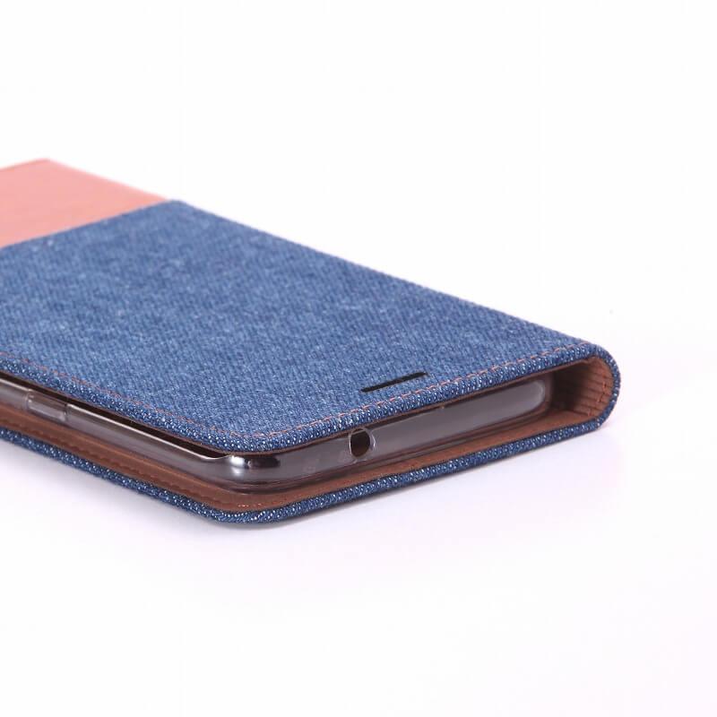 Galaxy S7 edge SC-02H/SCV33 薄型ファブリックケース「PRIME Fabric」 デニム柄(インディゴ/ブラウン)