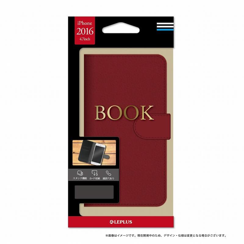 iPhone7 ブックタイプPUレザーケース「BOOK」 レッド