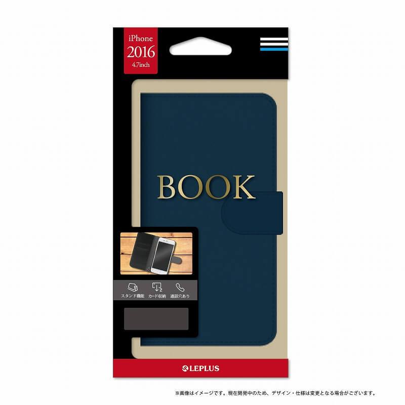 iPhone7 ブックタイプPUレザーケース「BOOK」 ネイビー