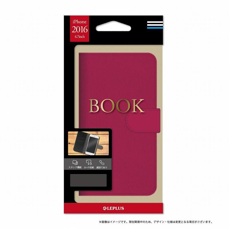 iPhone7 ブックタイプPUレザーケース「BOOK」 ピンク