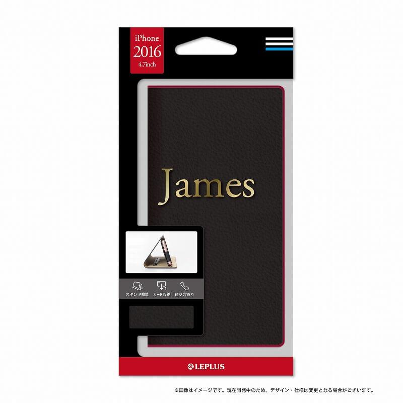 iPhone7 一枚革PUレザーケース「James」 ブラック