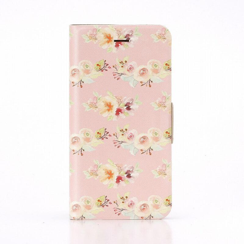 iPhone7 薄型デザインPUレザーケース「Design+」 Flower ピンク01