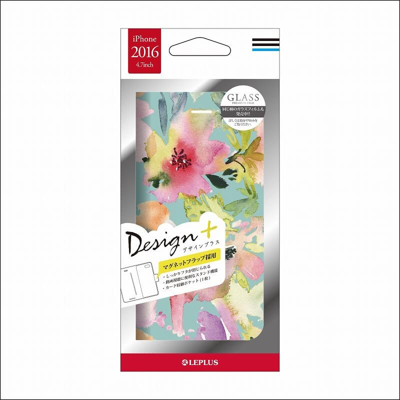iPhone7 薄型デザインPUレザーケース「Design+」 Flower カラフル