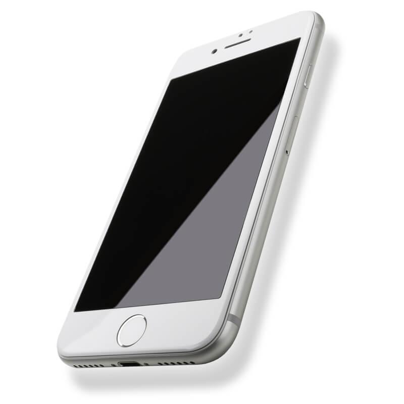 iPhone7 ガラスフィルム 「GLASS PREMIUM FILM」 全画面保護 スーパーフィット 極薄ステンレススチール製 ホワイト 0.15mm