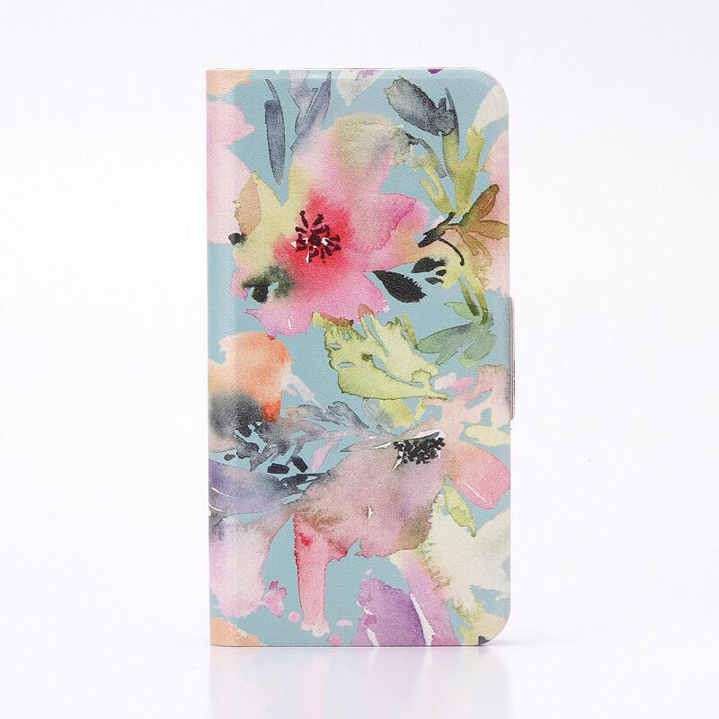 AQUOS EVER SH-02J/AQUOS U SHV37 薄型デザインPUレザーケース「Design+」 Flower カラフル