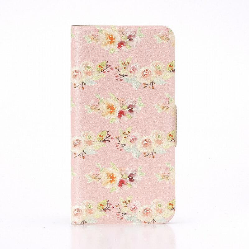 MONO MO-01J  薄型デザインPUレザーケース「Design+」 Flower ピンク01
