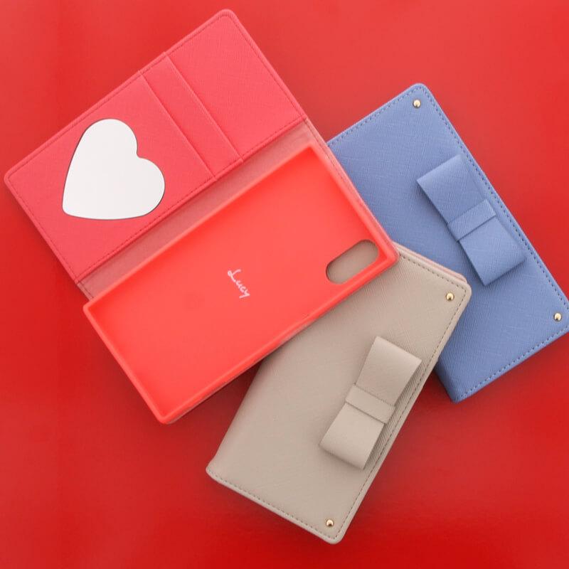 Xperia(TM) XZ/XZs SO-03J/SOV35/SoftBank【Lucy】リボン手帳型ケース/バーミリオン