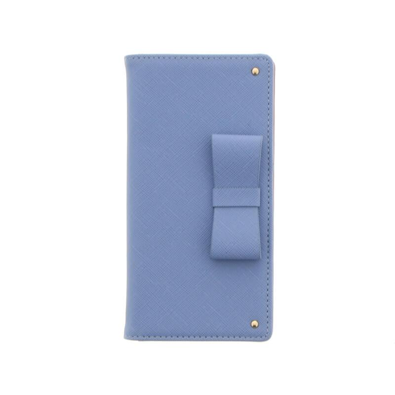 Xperia(TM) XZ/XZs SO-03J/SOV35/SoftBank【Lucy】リボン手帳型ケース/サックスブルー