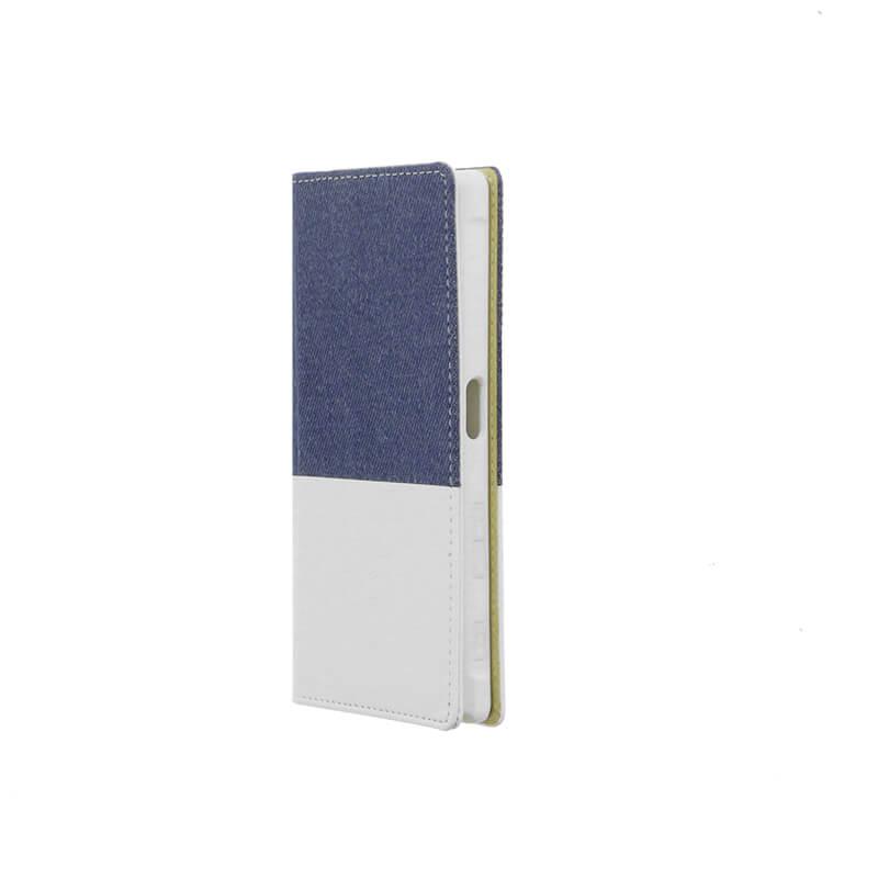 Xperia(TM) XZ/XZs SO-03J/SOV35/SoftBank デニムフラップケース「WINDE」 (耐衝撃TPUケース)ライトブルー/ホワイト B