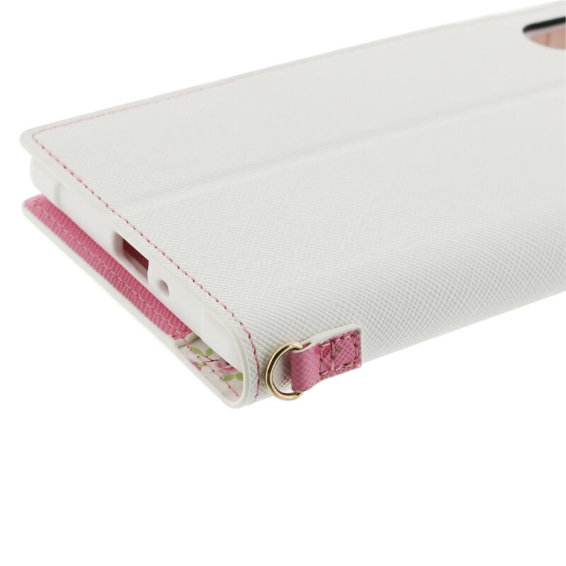 Xperia(TM) XZ/XZs SO-03J/SOV35/SoftBank フラワー柄ブックケース「Bouquet」 ホワイト