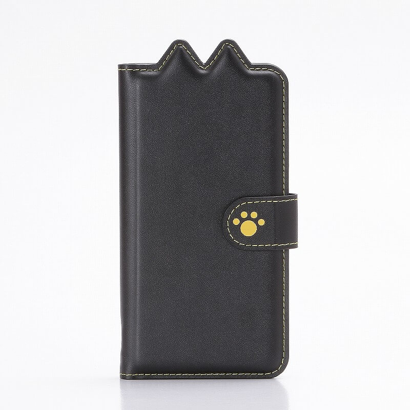 Xperia(TM) XZ/XZs SO-03J/SOV35/SoftBank ブックタイプ猫型PUレザーケース「BOOK にゃん」 クロ