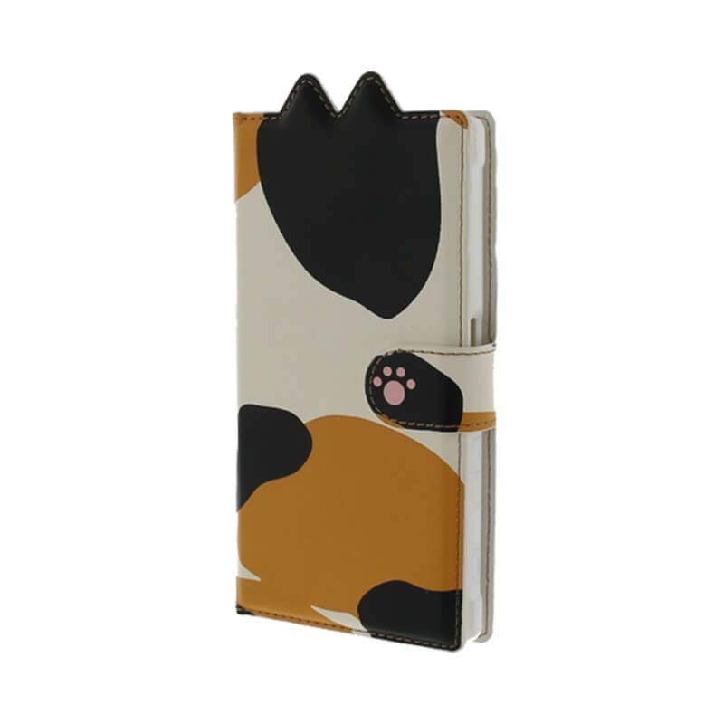 Xperia(TM) XZ/XZs SO-03J/SOV35/SoftBank ブックタイプ猫型PUレザーケース「BOOK にゃん」 ミケ