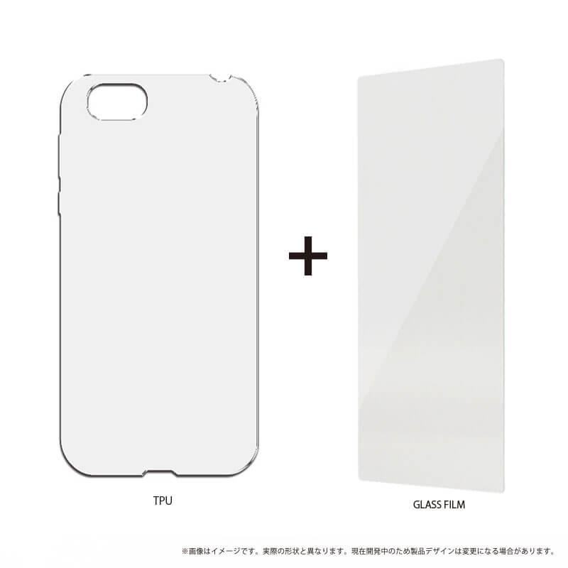 AQUOS R SH-03J/SHV39/SoftBank ガラスフィルム+ソフトケース セット 「GLASS + CLEAR SOFT」 クリア