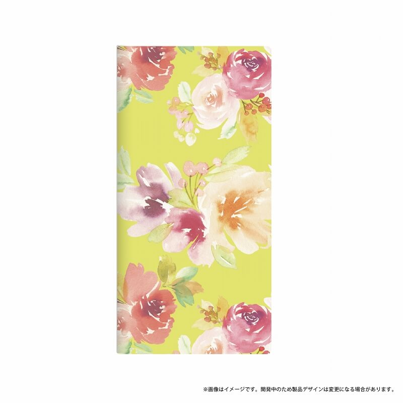 AQUOS R SH-03J/SHV39/SoftBank 薄型デザインPUレザーケース「Design+」 Flower イエロー
