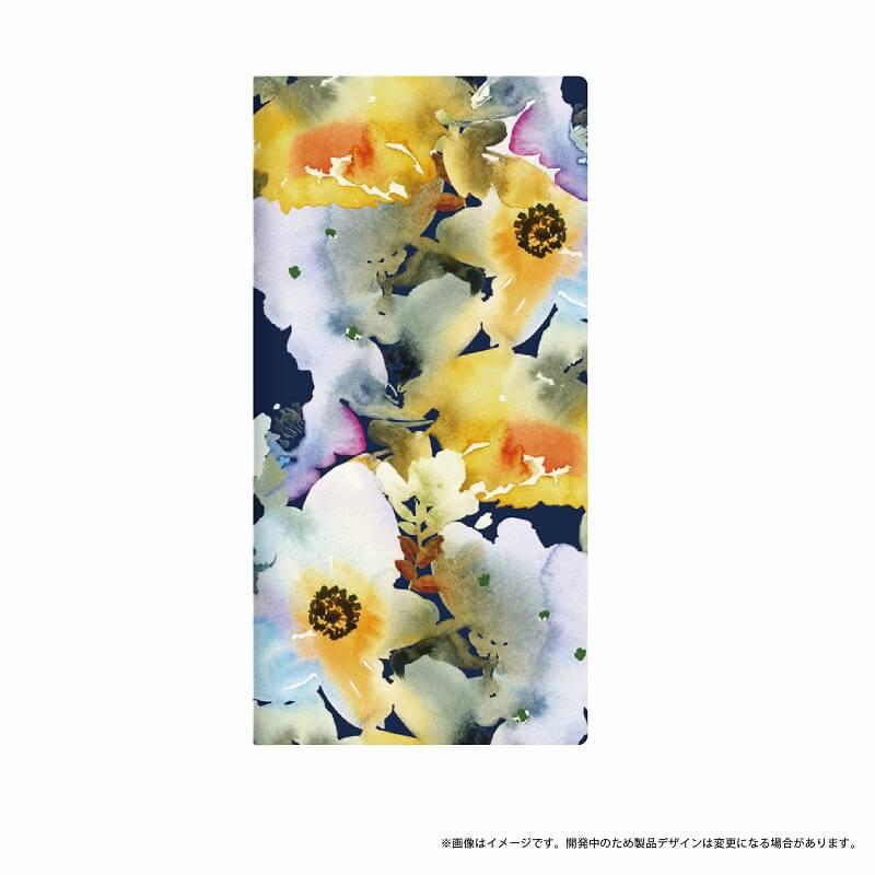 AQUOS R SH-03J/SHV39/SoftBank 薄型デザインPUレザーケース「Design+」 Flower  ネイビー