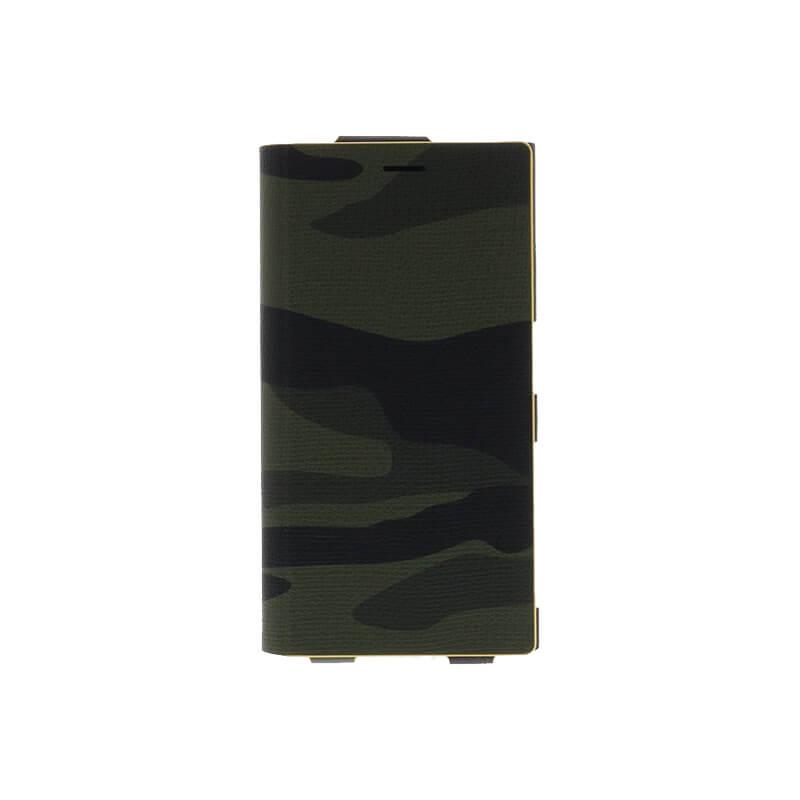 □Xperia(TM) XZ/XZs SO-03J/SOV35/SoftBank 一枚生地カモフラージュケース「Primo Camouflage」  グリーン