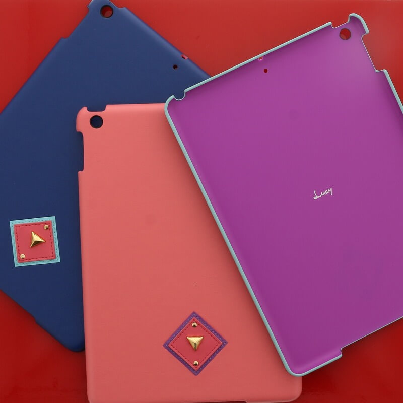 iPad 2017 9.7inch/iPad 2018 9.7inch 【Lucy】オルテガパターンPUレザーケース/ネイビー