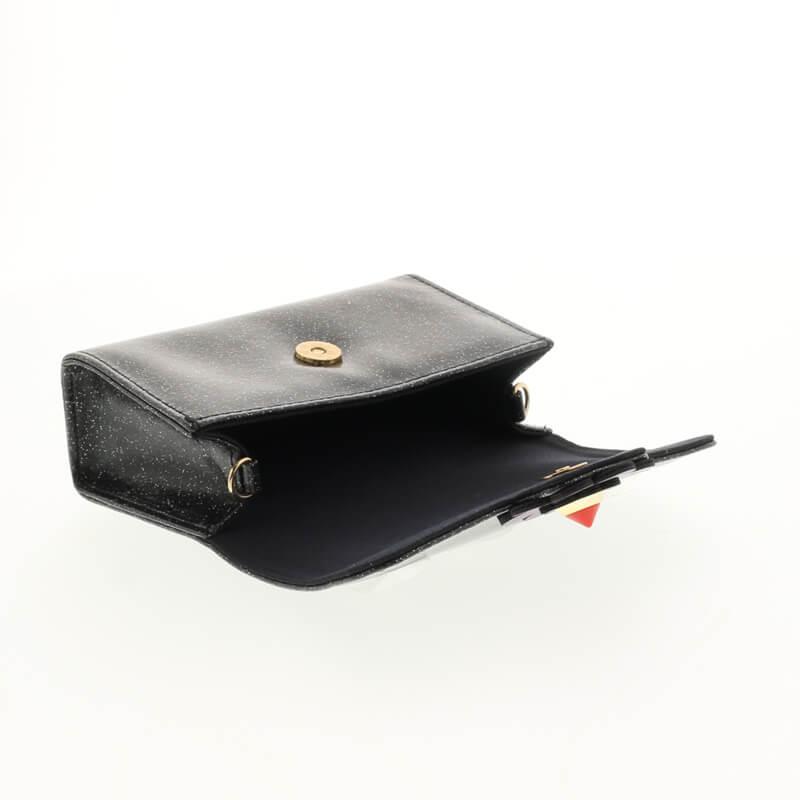 【Lucy】電子たばこケース/ショルダーチェーン付きポーチ型ケース/ラメブラック