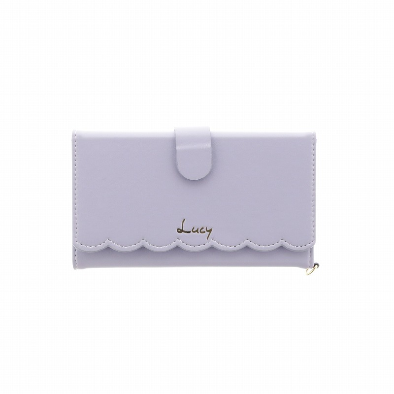iPhone 8/7【Lucy】スカラップデザイン/ウォレット型ケース/パープル