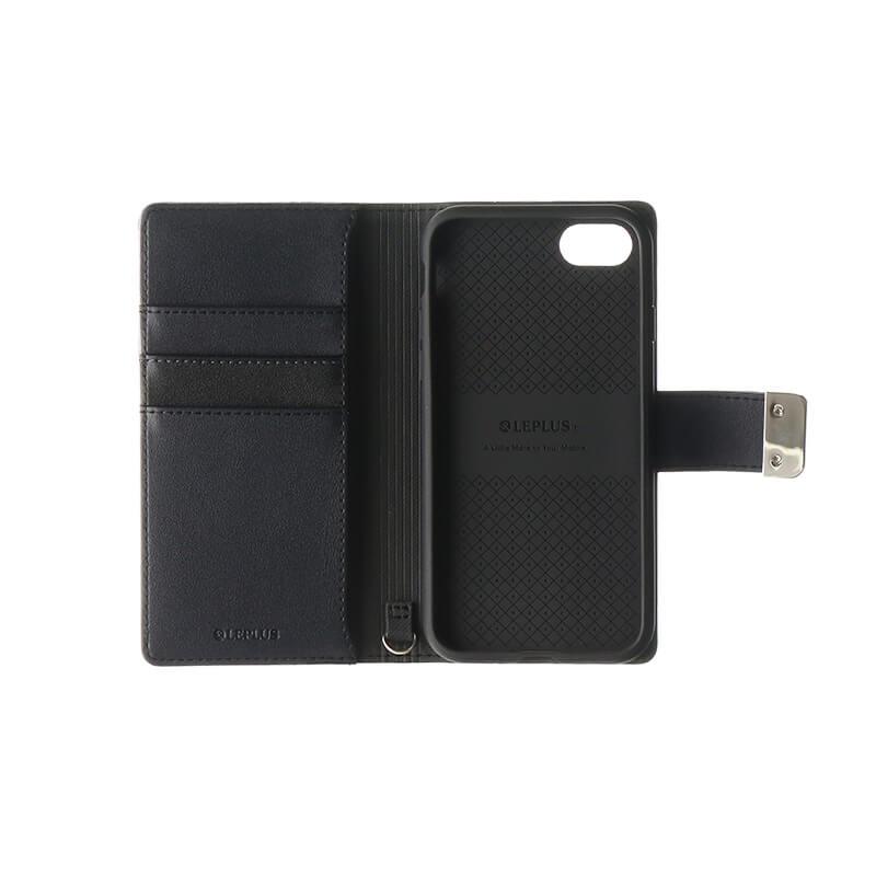 iPhone 8/7 上質PUレザーブックケース「PREMIER」 ブラック