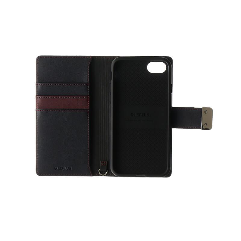 iPhone 8/7 上質PUレザーブックケース「PREMIER」 レッド