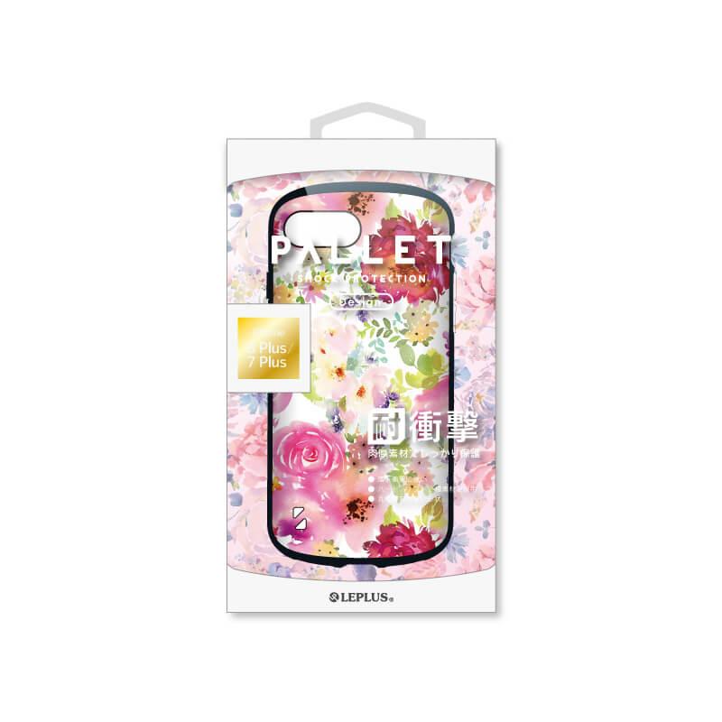 iPhone 8 Plus/7 Plus 耐衝撃ハイブリッドケース「PALLET Design」 フラワーピンク