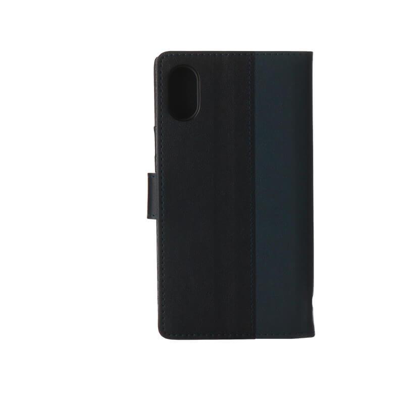 iPhone X 上質PUレザーブックケース「PREMIER」 ネイビー