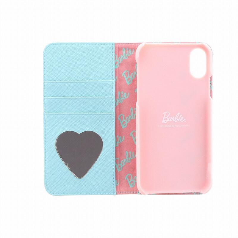 iPhone X/Barbie Design/パンチング手帳型ケース/ミント