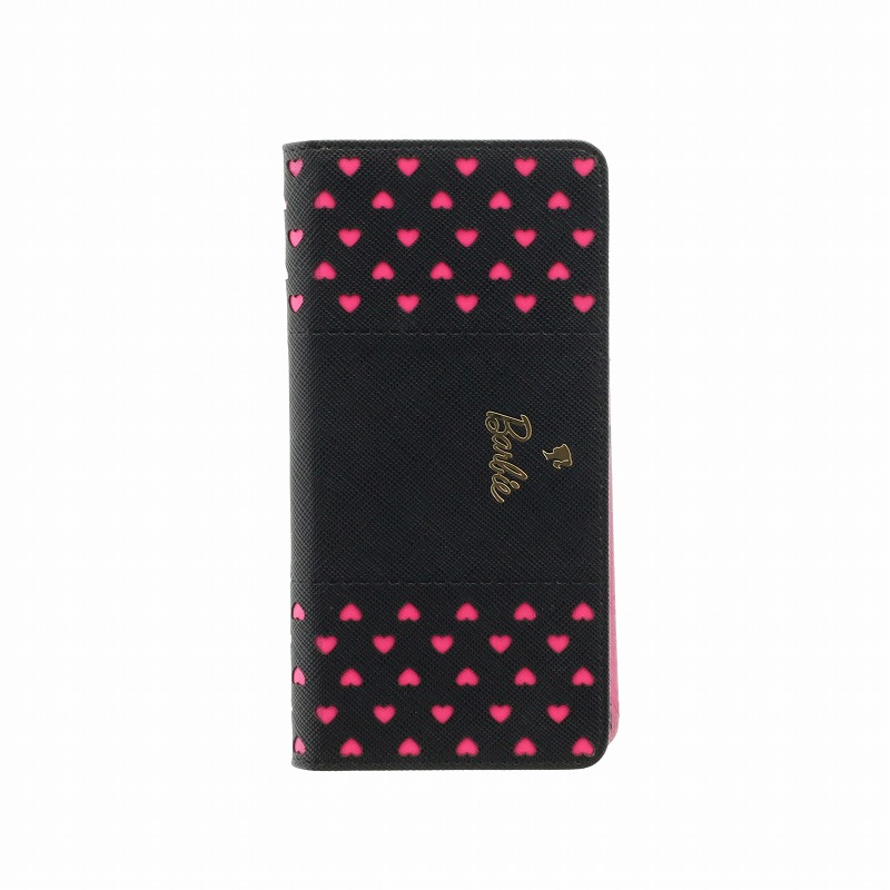 iPhone XS/iPhone X Barbie Design/パンチング手帳型ケース/ブラック