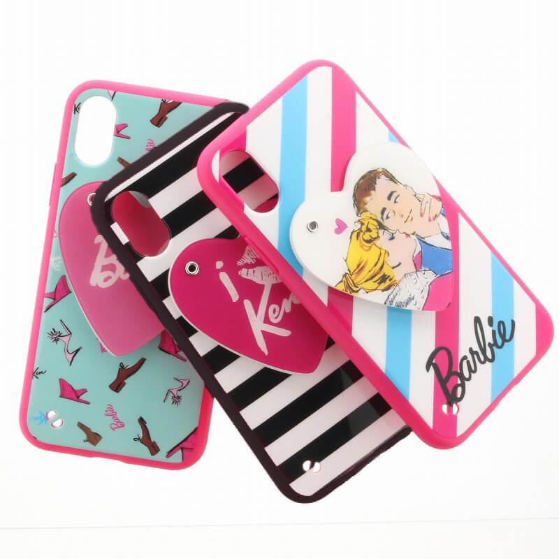 iPhone X/Barbie Design/スライド式ハートミラー付ハイブリットケース/カップル柄