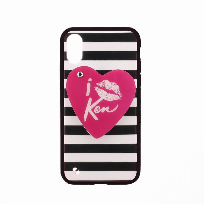 iPhone X/Barbie Design/スライド式ハートミラー付ハイブリットケース/リップ柄