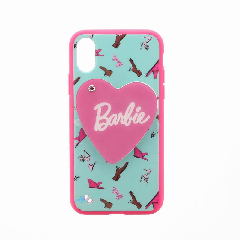 iPhone X/Barbie Design/スライド式ハートミラー付ハイブリットケース/ファッション柄