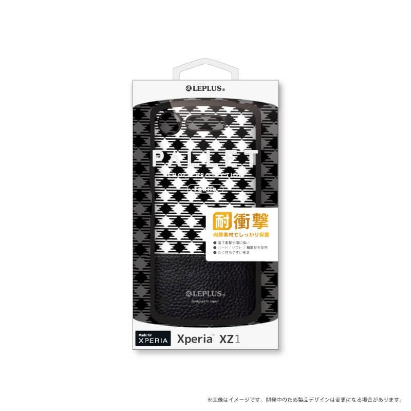 Xperia(TM) XZ1 SO-01K/SOV36/SoftBank 耐衝撃ハイブリッドケース「PALLET Design」 チェック柄ブラック