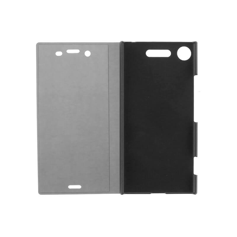 Xperia(TM) XZ1 SO-01K/SOV36/SoftBank 透明フラップケース「TOUCH FLAP」 ブラック