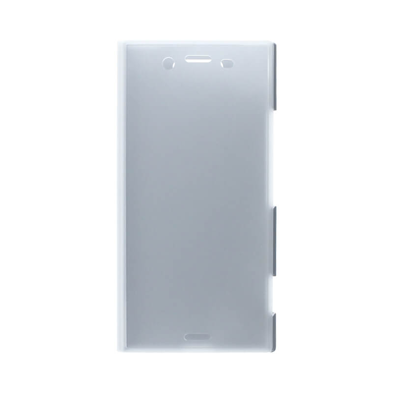 Xperia(TM) XZ1 SO-01K/SOV36/SoftBank 透明フラップケース「TOUCH FLAP」 シルバー