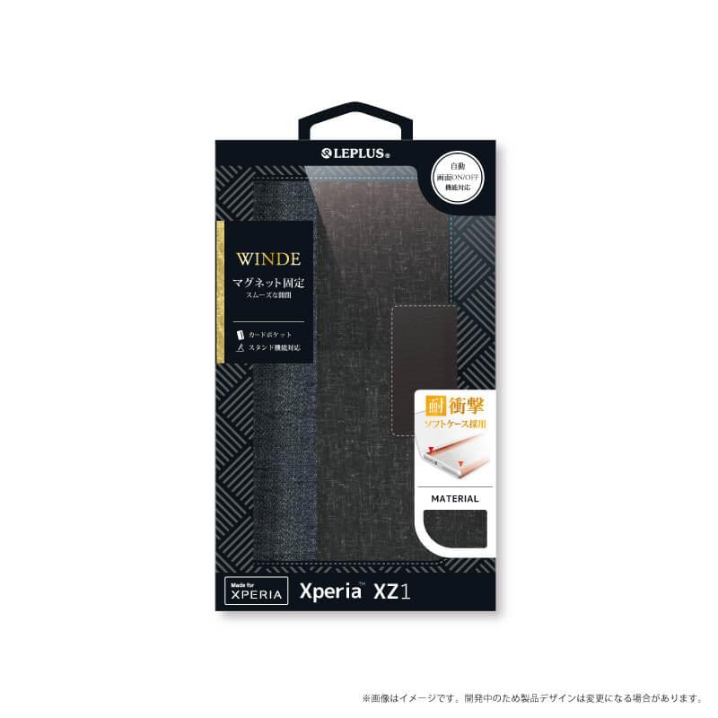 Xperia(TM) XZ1 SO-01K/SOV36/SoftBank デニムフラップケース「WINDE」 2トーンブラック/ブラック