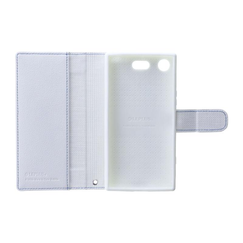 Xperia(TM) XZ1 Compact SO-02K デニムフラップケース「WINDE」 ライトブルー/ホワイト
