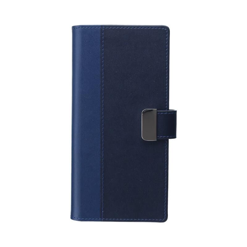 Galaxy Note8 SC-01K/SCV37 上質PUレザーブックケース「PREMIER」 ネイビー