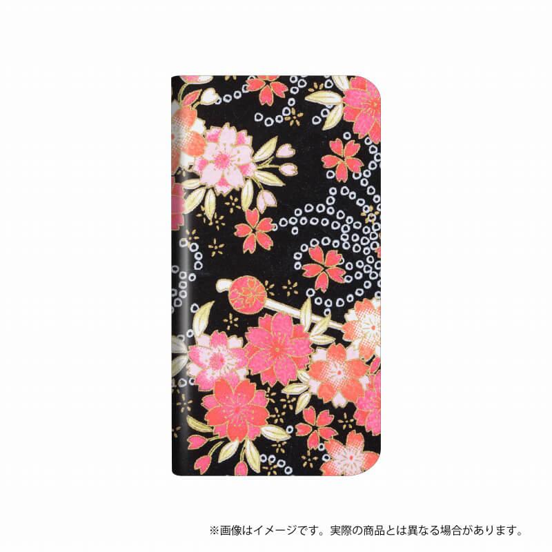 らくらくスマートフォン me F-03K 薄型デザインPUレザーケース「Design+」  Flower  晴ブラック