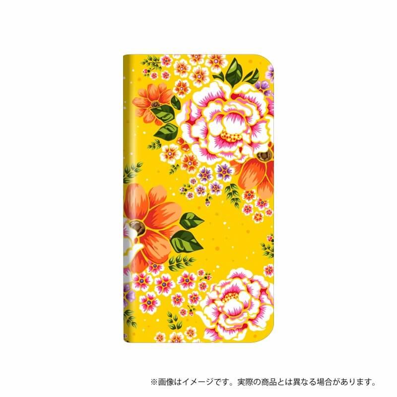 らくらくスマートフォン me F-03K 薄型デザインPUレザーケース「Design+」  Flower マスタード