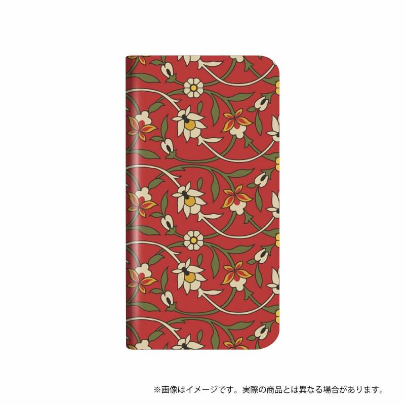 らくらくスマートフォン me F-03K 薄型デザインPUレザーケース「Design+」  Flower  レトロ