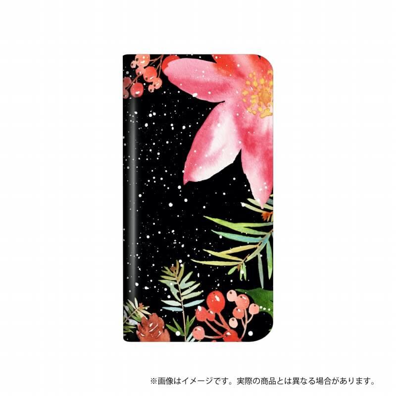 らくらくスマートフォン me F-03K 薄型デザインPUレザーケース「Design+」  Flower  水彩ブラック