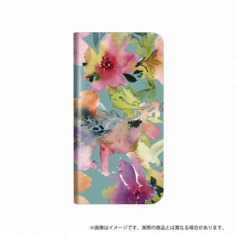 らくらくスマートフォン me F-03K 薄型デザインPUレザーケース「Design+」  Flower  カラフル