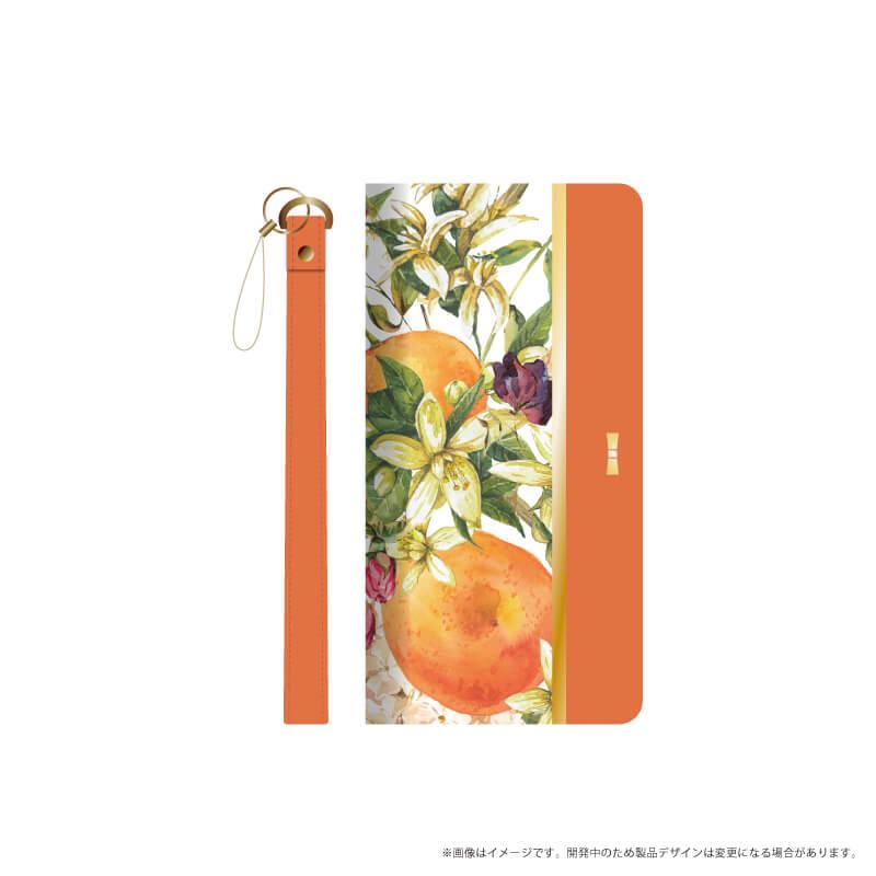 らくらくスマートフォン me F-03K フルーツ柄PUレザーフラップケース「FRUIT FLAP」 オレンジ