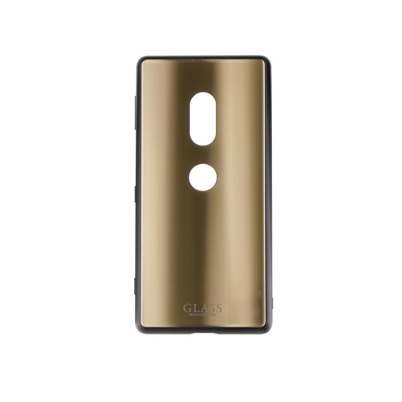 Xperia(TM) XZ2 SO-03K/SOV37/SoftBank 背面ガラスシェルケース「SHELL GLASS」 ゴールド