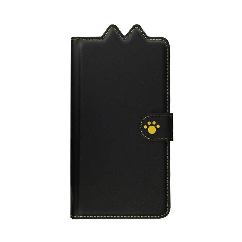 Xperia(TM) XZ2 SO-03K/SOV37/SoftBank ねこ型PUレザーブックケース「BOOK にゃん」 クロ