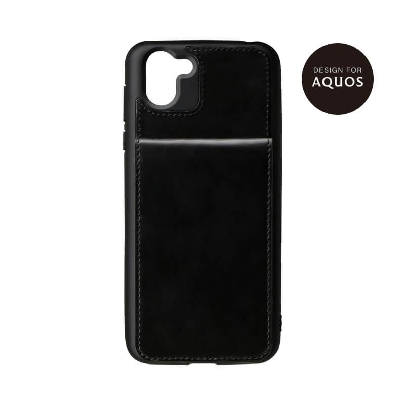 AQUOS R2 SH-03K/SHV42/SoftBank カードシェルケース「Porte」 ブラック