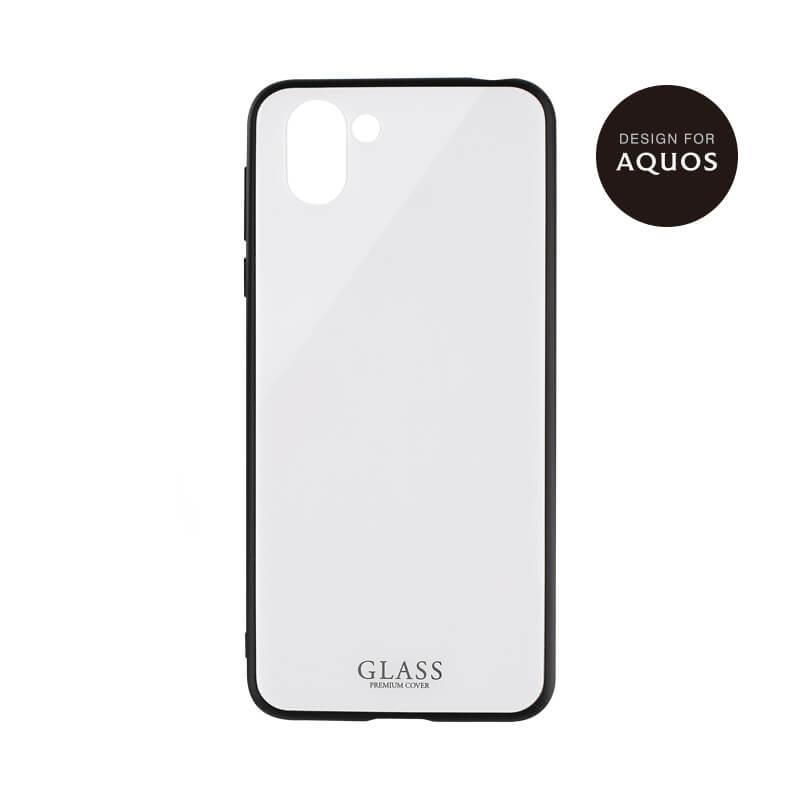 AQUOS R2 SH-03K/SHV42/SoftBank 背面ガラスシェルケース「SHELL GLASS」 ホワイト