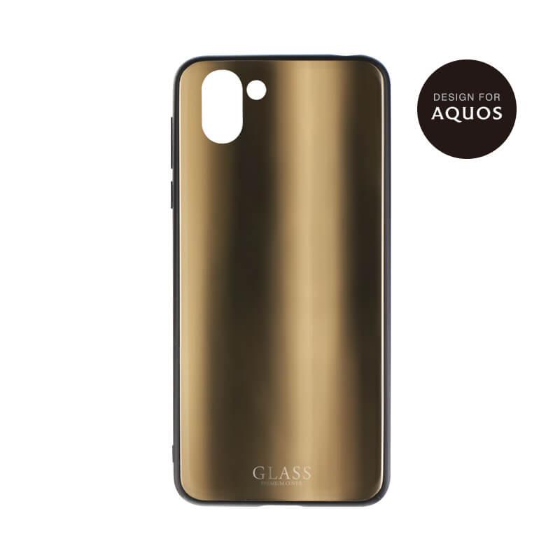 AQUOS R2 SH-03K/SHV42/SoftBank 背面ガラスシェルケース「SHELL GLASS」 ゴールド